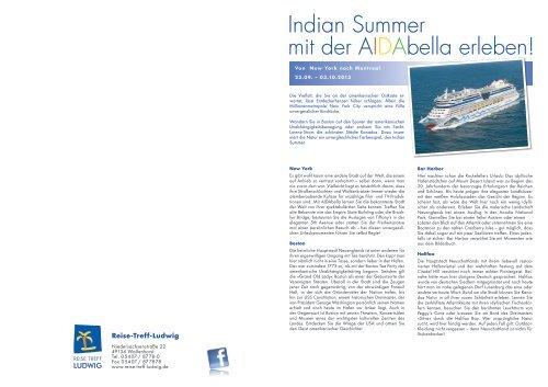 Indian Summer mit der AIDAbella erleben! - Reise Treff Ludwig