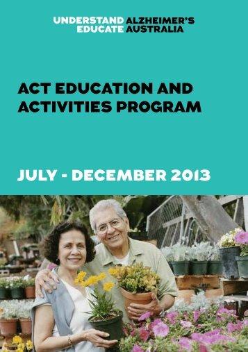 ACT Education and Activities Program Jul-Dec 2013(PDF, 843 kB)
