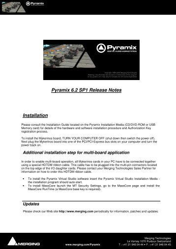Pyramix 6.2 SP1 Release Notes Installation - Merging Technologies