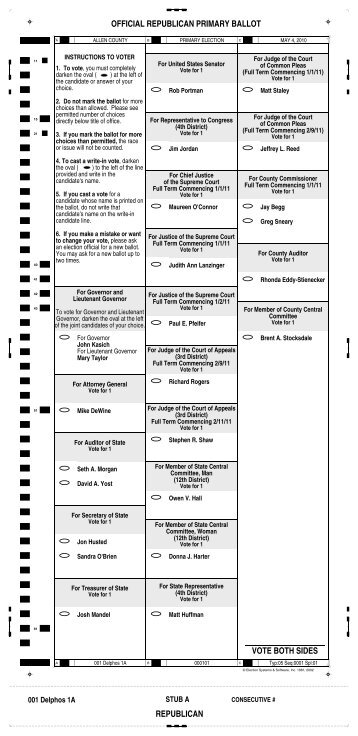 OFFICIAL REPUBLICAN PRIMARY BALLOT VOTE BOTH SIDES ...