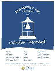 Volunteer Handbook - Rehoboth Christian Ministries