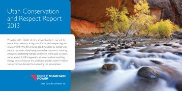 Utah Conservation and Respect Report 2013 - Rocky Mountain Power