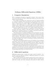 Ordinary Differential Equations (ODEs) 1 Computer Simulations 2 ...