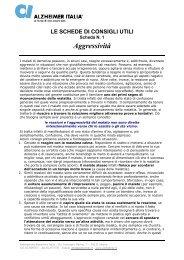 LE SCHEDE DI CONSIGLI UTILI - Alzheimer Italia