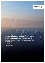 Sammanfattning av EPD för el från Vattenfalls nordiska vindkraftverk