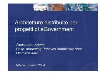 Architetture distribuite per progetti di eGovernment - Forum PA