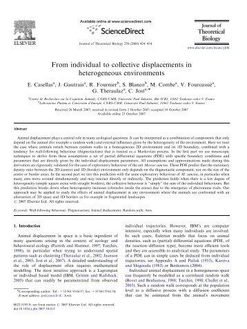 Journal of Theoretical Biology 250 - Centre de Recherches sur la ...