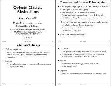 Objects, Classes, Abstractions - Luca Cardelli