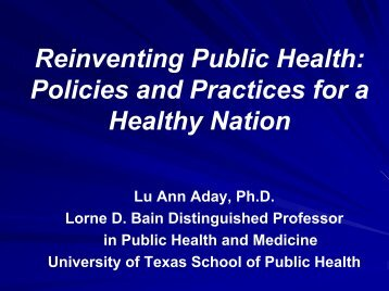 OUTLINES: CHAPTERS 1 & 7 - National Network of Public Health ...