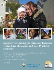 Supportive Housing for Homeless Families - Sierra Health Foundation
