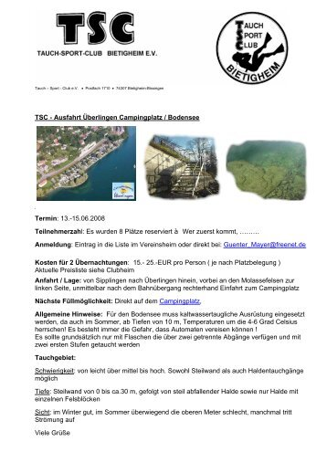 Ausfahrt Blindsee - TSC | Tauch-Sport-Club Bietigheim eV