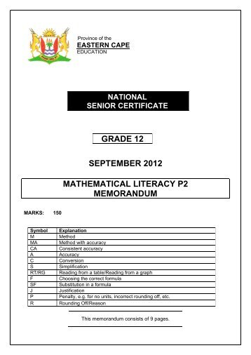 Mathematical Literacy Paper 1 June 2016 Memorandum Grade 12