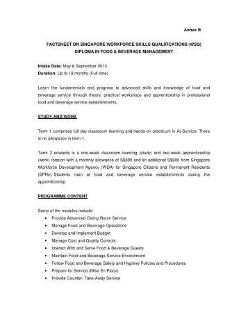 Factsheet on WSQ Diploma in F&B Management - WDA