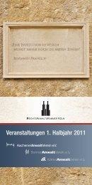 Veranstaltungen 1. Halbjahr 2011 - Rechtsanwaltskammer Köln