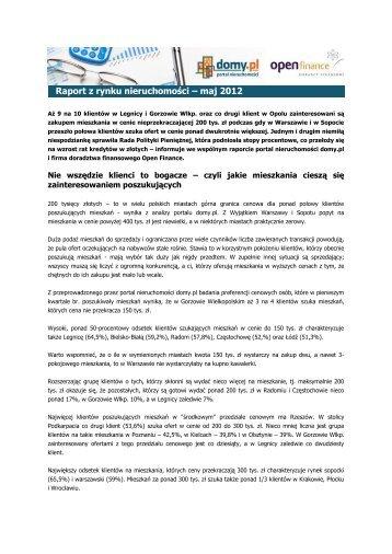Raport z rynku nieruchomości – maj 2012 - QBusiness.pl
