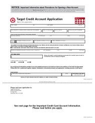 Target Credit Account Application
