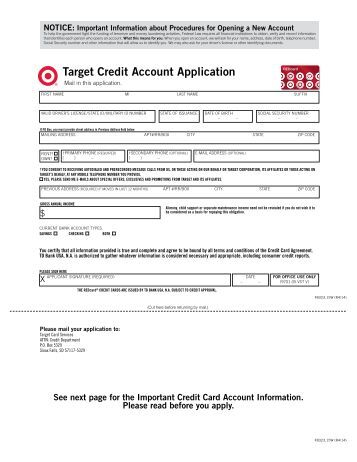 Target Application Forms Target Credit Account Application Credit