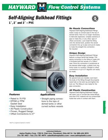 Self-Aligning Bulkhead Fittings - Aetna Plastics Corp.