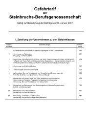Gefahrtarif Branche Baustoffe - Steine - Berufsgenossenschaft ...