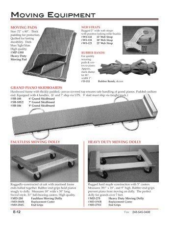 moving equipment view catalog - Pianotek Supply Company