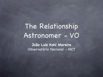The Relationship Astronomer - VO