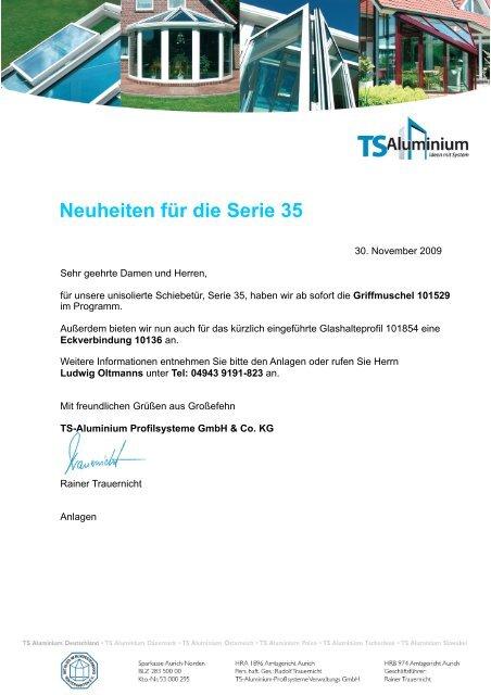 Neuheiten für die Serie 35 - TS-Aluminium Profilsysteme GmbH ...
