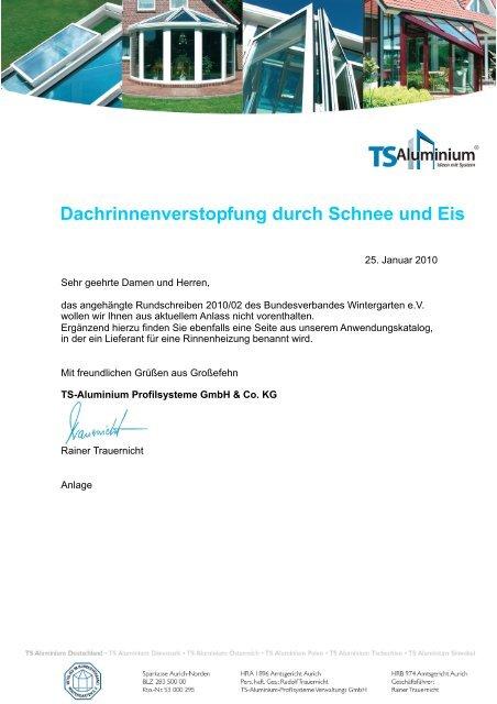 Nähere Informationen - TS-Aluminium Profilsysteme GmbH & Co. KG