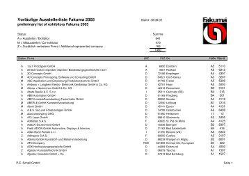 Ausstellerliste FK05 Aug05 - P.E. Schall GmbH