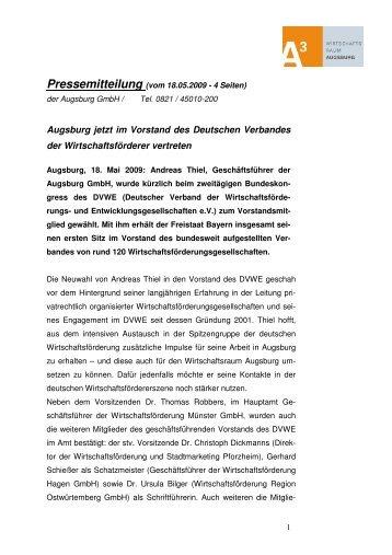 Pressemitteilung (vom 18.05.2009 - 4 Seiten) - im Wirtschaftsraum ...