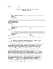 Irrevocable Standby Letter of Credit (Maintenance)