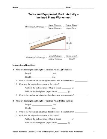 inclined plane worksheet answer key teach engineering. Black Bedroom Furniture Sets. Home Design Ideas