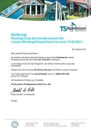 Achtung: - TS-Aluminium Profilsysteme GmbH & Co. KG