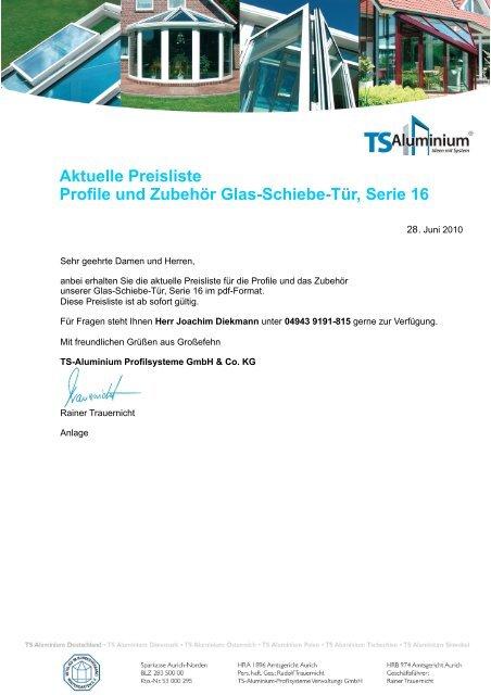 Aktuelle Preisliste Profile und Zubehör Glas-Schiebe-Tür, Serie 16
