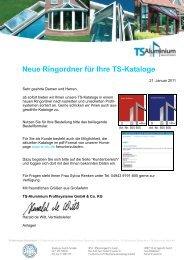 Bestellfax zurück an - TS-Aluminium Profilsysteme GmbH & Co. KG