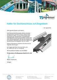 Halter für Dachanschluss auf Ziegeldach - TS-Aluminium ...