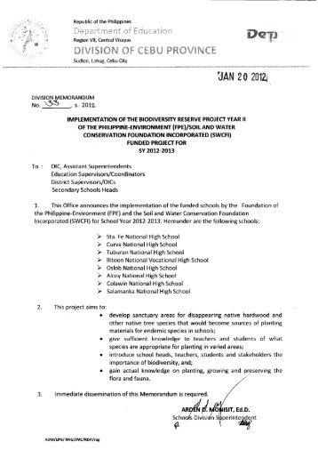 Memo No. 33, S. 2012 - DepEd Cebu Province