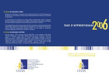 TAXE D'APPRENTISSAGE - Celsa
