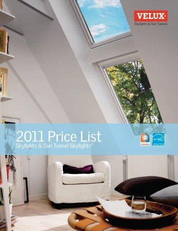 2011 Price List - Skylights | SUN TUNNELS - Velux