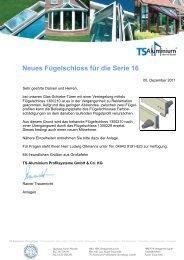 Neues Fügelschloss für die Serie 16 - TS-Aluminium Profilsysteme ...