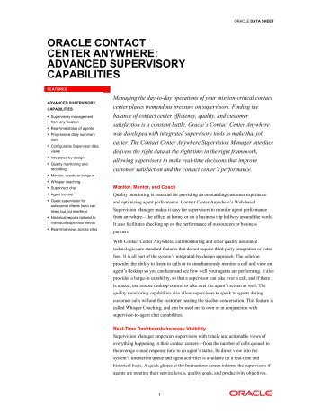 oracle contact center anywhere: advanced supervisory ... - QPC
