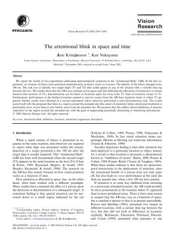 The attentional blink in space and time - Vision Sciences Lab ...