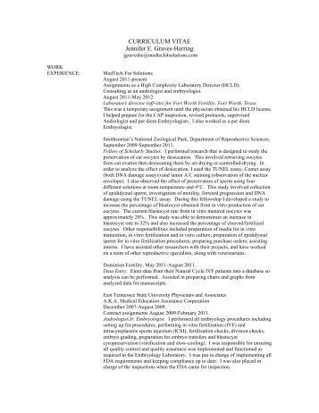 CURRICULUM VITAE Jennifer E. Graves-Herring - MedTech for ...
