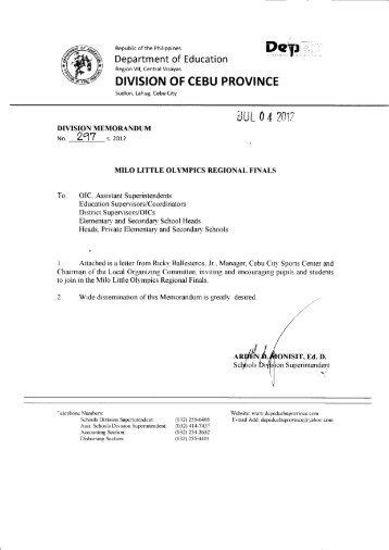 Memo No. 297, S. 2012 - DepEd Cebu Province
