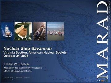 Nuclear Ship Savannah - Local Sections - American Nuclear Society