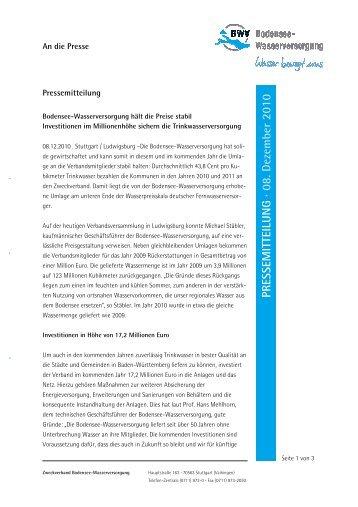 Verbandsversammlung - Zweckverband Bodensee-Wasserversorgung