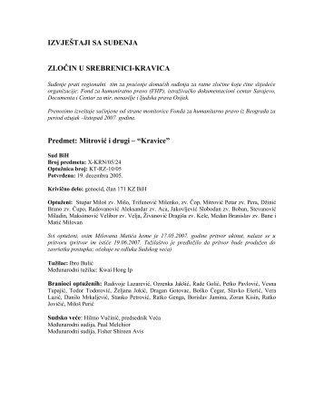 IZVJEŠTAJI SA SUĐENJA - Documenta