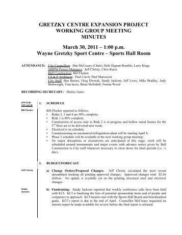 1:00 pm Wayne Gretzky Sport Centre - City of Brantford