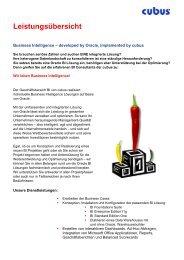 Leistungsübersicht Business Intelligence - cubus