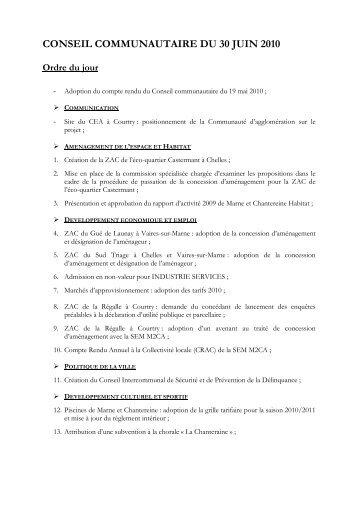 CONSEIL COMMUNAUTAIRE DU 30 JUIN 2010 - Communauté d ...