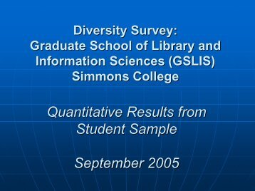 Diversity Survey Report - Graduate School of Library and ...